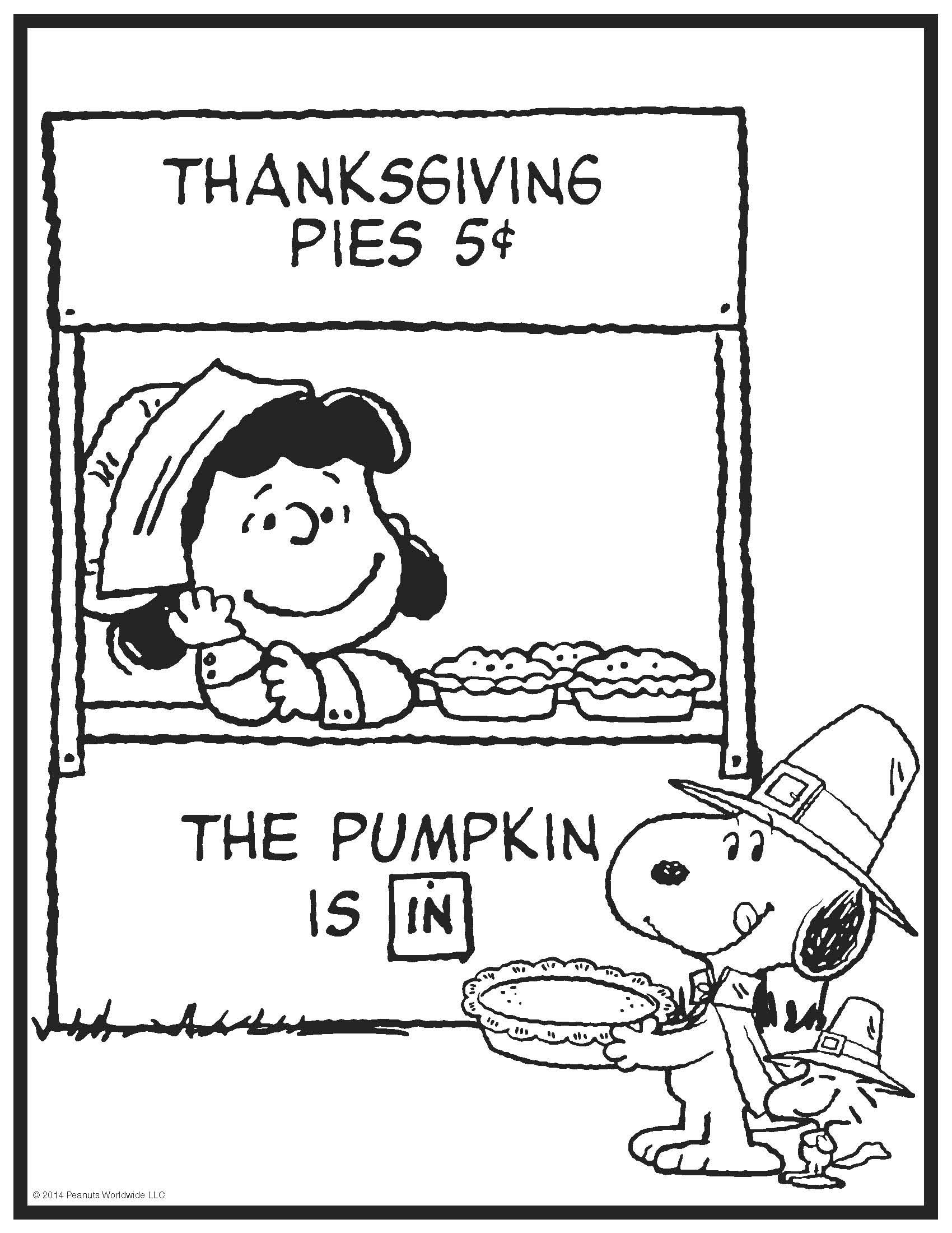 peanuts thanksgiving printable coloring pages images